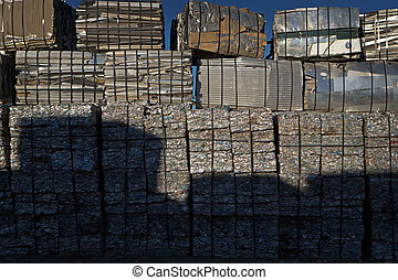 Baled & Stacked Crushed Metal