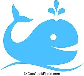 baleia azul, vetorial, ícone