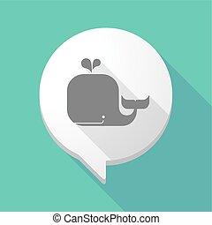 baleia, cômico, sombra, balloon, longo