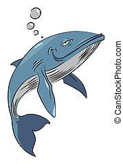 baleia, feliz, imagem, caricatura