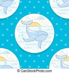baleia, fundo, mar