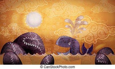 baleia, pôr do sol, estilo, caricatura