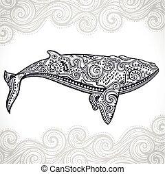 baleia, tribal, ornamentos