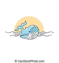 baleine, vecteur, ligne, icon., illustration.