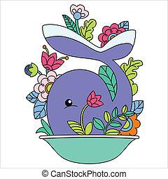 balena, cartone animato, illustrazione