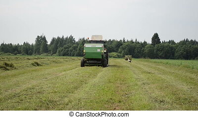 baler discharge hay bale - tractor baler equipment discharge...