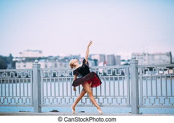 balerina, feltevő, képben látható, egy, háttér, közül, a, tó