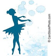 balerina, -, ilustracja, artystyczny, tło, chorągiew