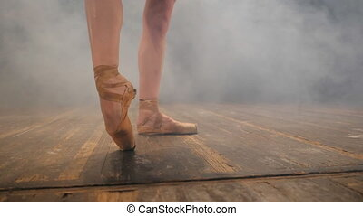 balerina, kobieta, obuwie, pointe, podłoga, taniec, nagi, ...