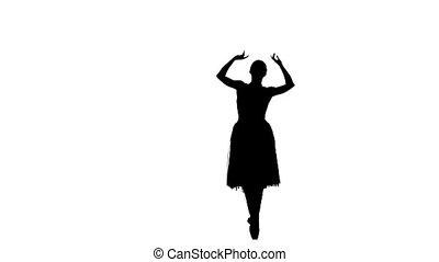 balerina, sylwetka, tendus, taniec, młody, tło, podstęp, zrobienie, biały, battements