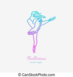 balerina, w, taniec, emblemat