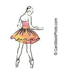 balerina, wektor, rysunek, figura, ręka