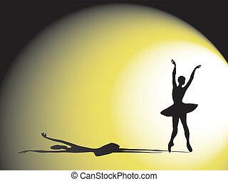 balerina, z, cień