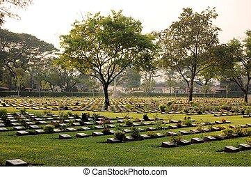 baleset áldozatai, temető, 2, világ, kanchanaburi, thaiföld, háború