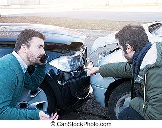 baleset, Megvitat, autó, után, két, utca, ember