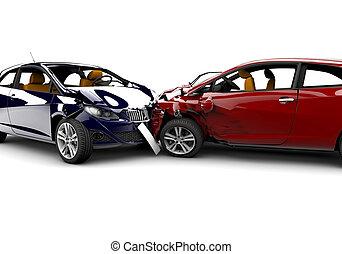 baleset, noha, két, autók