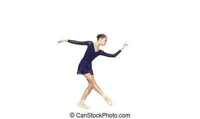 balet dancer isolated on white background. slow motion