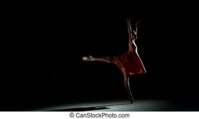 balet, kędzierzawy, dziewczyna, taniec, studio