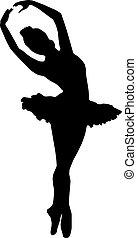 balet, taniec, -, sylwetka, wektor, dziewczyna