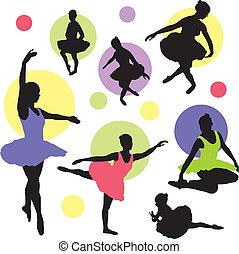 balet, wektor, komplet, sylwetka