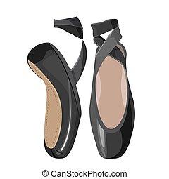 baletowe obuwie, tło., czarna samica, biały, pointes