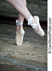 balett cipő, emelet, fából való, tánc, lábak