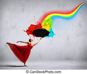 balett, esernyő, repülés, táncos, selyem, ruha