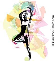 balett-táncos, modern, ember
