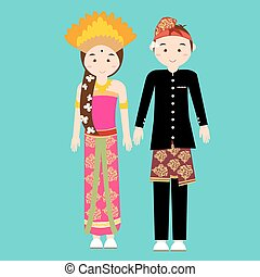 bali balinese couple men woman wearing traditional wedding clothes indonesia