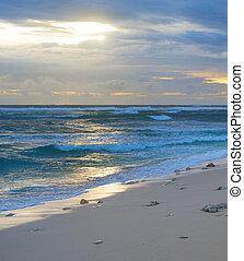 Bali beach at sunset. Indonesia