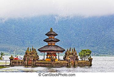 bali, danu, indonesia, lago, ulun, beratan, tempio