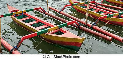 bali, danu, lago, ulun, accanto, beratan, barche, chiudere, tempio