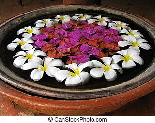 Bali: Flowers floating on a pot, as a lovely traditional...