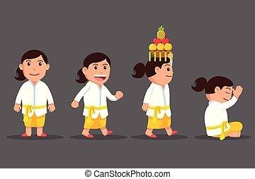 Bali Girl Cute Cartoon Character Set - Vector cartoon...