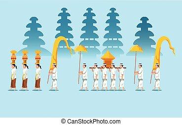 Bali Hindu Religious Rite Parade - Hindu religious rite...
