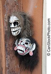 bali mask - two masks in Ubud on the island Bali