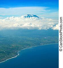 Bali seashore Agung volcano aerial - Aerial view from...