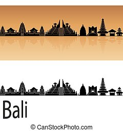 Bali skyline in orange