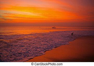 bali, spiaggia, a, tramonto