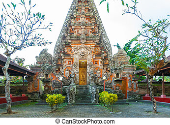 Bali temple complex - Ornate Balinese Hindu shrines and...
