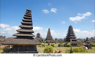 bali - Time lapse sky flowing at Besakih Temple Hindu Bali...