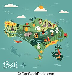Bali travel banner with famous landmarks.