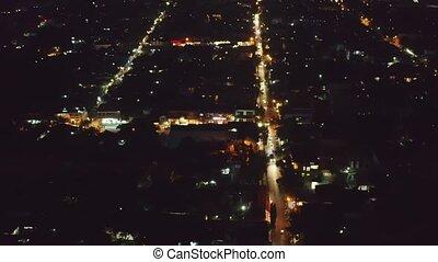 Bali Ubud night - Night Ubud city aerial view to street with...