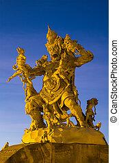 bali, uluwatu, god, vecht, pura, standbeeld, luhur, aapjes
