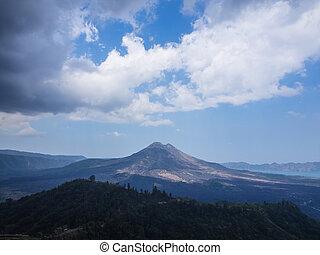Bali volcano, Agung mountain from Kintamani in Bali,...
