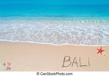 """turquoise water and golden sand with shells and sea stars and """"bali"""" written on it"""