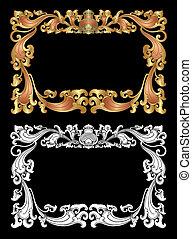 balinés, ornamento, marco, 2d
