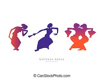 balinese, セット, 女の子, ダンス