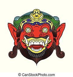 balinese, 神話である, マスク, ひどい, 伝統的である, 擁護者