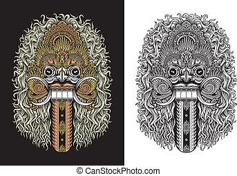 Balinese Demon Mask - fully editable vector illustration of...